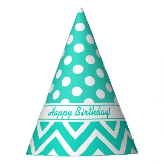 Happy Birthday Teal Turquoise Chevron Polka Dot Party Hat