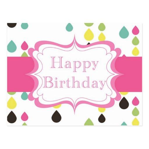 Happy Birthday (tear drops) Postcard
