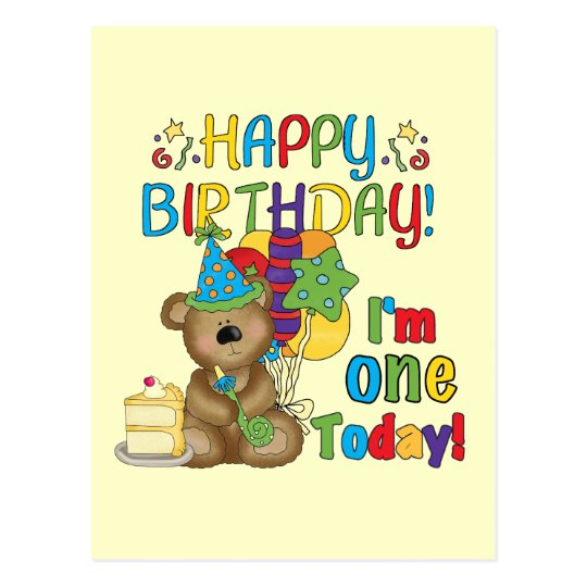 Happy Birthday Teddy Bear 1st T-shirts and Gifts Postcard