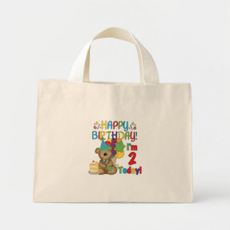 Happy Birthday Teddy Bear 2nd Tshirts and Gifts Mini Tote Bag