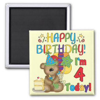 Happy Birthday Teddy Bear 4th T-shirts and Gifts 2 Inch Square Magnet