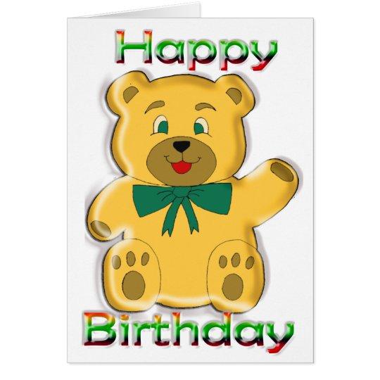 Happy Birthday Teddy Bear Card