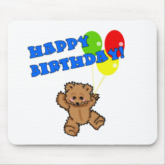 Happy Birthday Teddy Bear with Balloons Mouse Pad