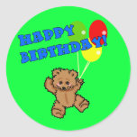 Happy Birthday Teddy Bear with Balloons Stickers