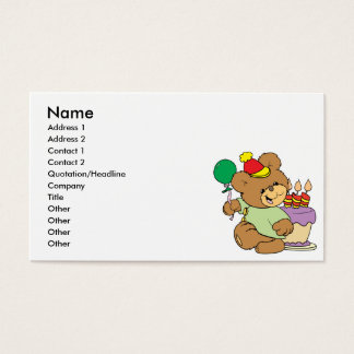 happy birthday teddy bear with cake and balloon business card