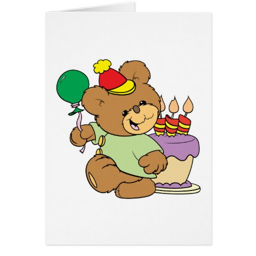 happy birthday teddy bear with cake and balloon greeting card