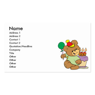 happy birthday teddy bear with cake and balloon Double-Sided standard business cards (Pack of 100)