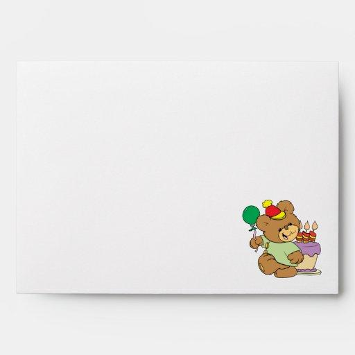 happy birthday teddy bear with cake and balloon envelopes