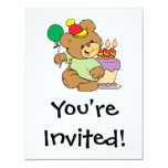 happy birthday teddy bear with cake and balloon 4.25x5.5 paper invitation card
