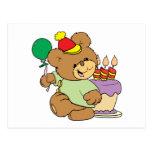 happy birthday teddy bear with cake and balloon postcard
