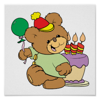happy birthday teddy bear with cake and balloon poster