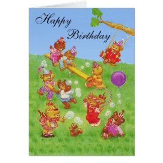 Happy Birthday Teddy Bear's Bubbles party Greeting Card