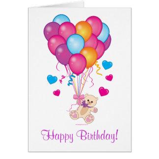 Happy Birthday Teddy with Heart-Shaped Balloons Card