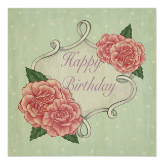 Happy birthday,template,vintage,shabby chic,roses poster