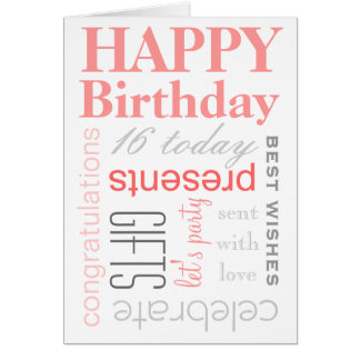 Happy Birthday Text Design Card in Pink & Grey