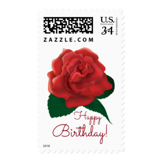 Happy Birthday text flower red rose postage