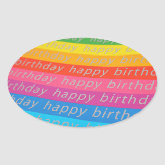 Happy Birthday Text in a Rainbow of Colors Oval Stickers