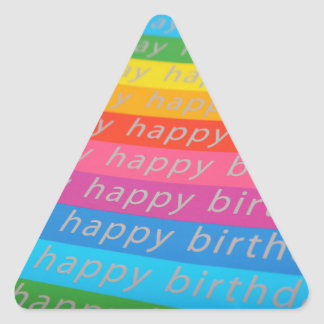 Happy Birthday Text in a Rainbow of Colors Triangle Sticker