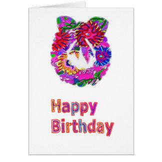 Happy Birthday Text n Elegant Flower Wreath Card