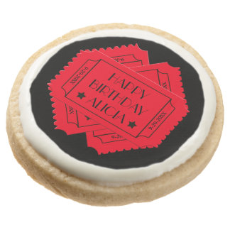 Happy Birthday Theater Tickets Round Shortbread Cookie