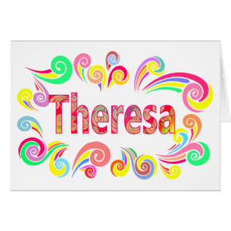 Happy Birthday Theresa with Bright, Colorful Swirl Card
