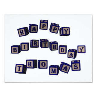 Happy Birthday Thomas toy blocks in blue Card