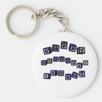 Happy Birthday Thomas toy blocks in blue Basic Round Button Keychain