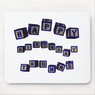 Happy Birthday Thomas toy blocks in blue Mouse Pad