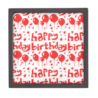 happy birthday tiled text with balloons jewelry box