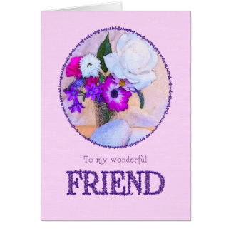 Happy birthday to a friend with a flower painting card