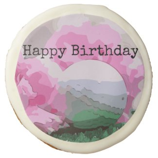 Happy Birthday to golfer golf ball pink carnation Sugar Cookie