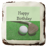 Happy Birthday to golfer with ball and iron Brownie