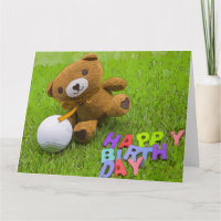 Happy Birthday to Golfer with bear and golf ball Card