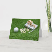 Happy Birthday to golfer with gift and golf ball Card
