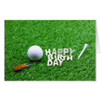 Happy Birthday to golfer with golf ball and tee Card