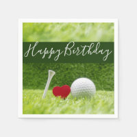 Happy Birthday to golfer with love and golf ball Napkin