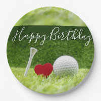 Happy Birthday to golfer with love and golf ball Paper Plate