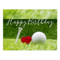 Happy Birthday to golfer with love and golf ball Postcard