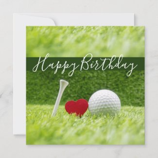 Happy Birthday to golfer with love heart shape