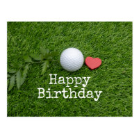 Happy Birthday to golfer with love with golf ball Postcard