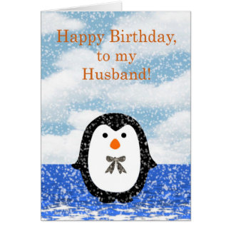 Happy birthday to Husband with penguin Card