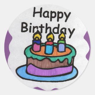 Happy birthday to me (art) classic round sticker