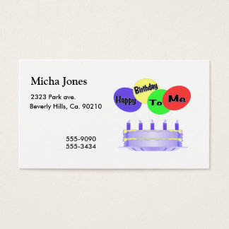 Happy Birthday To Me Cake & Balloons Business Card