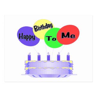 Happy Birthday To Me Cake & Balloons Postcard