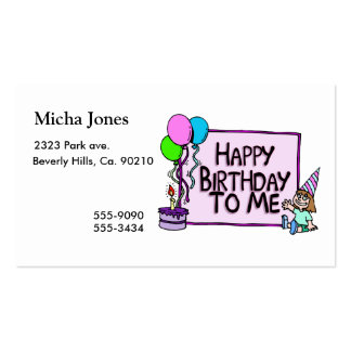 Happy Birthday To Me Girl Business Card