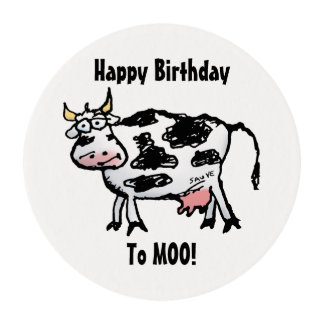Happy Birthday To MOO Funny Cow Edible Frosting Rounds