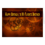 Happy Birthday, to my Favorite Brother steampunk Greeting Card