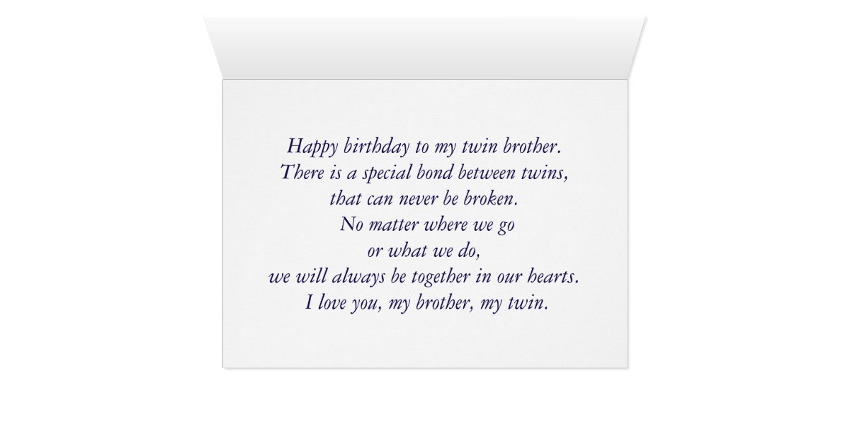 Wedding Gift For Twin Brother : Happy Birthday to Twin Brother From Twin Sister Card Zazzle