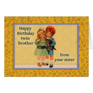 Happy Birthday to Twin Brother From Twin Sister Card