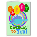 Happy Birthday to You Blue Cartoon Dinosaur Greeting Card